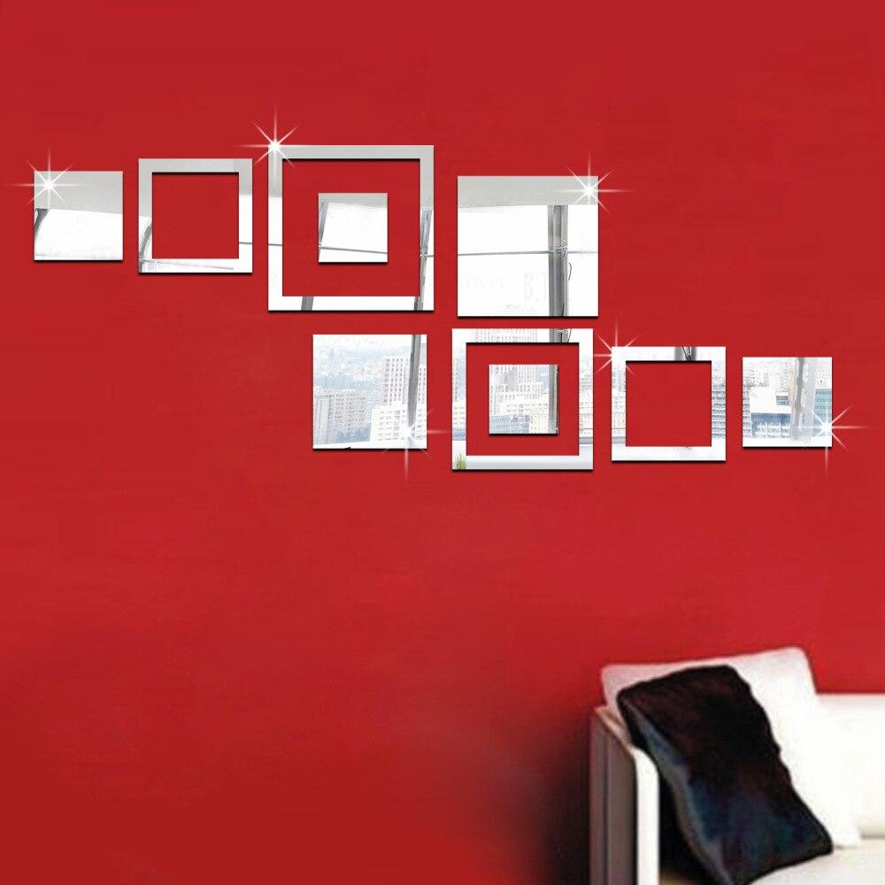 Modern minimalist square mirror wall stickers room bedroom ...