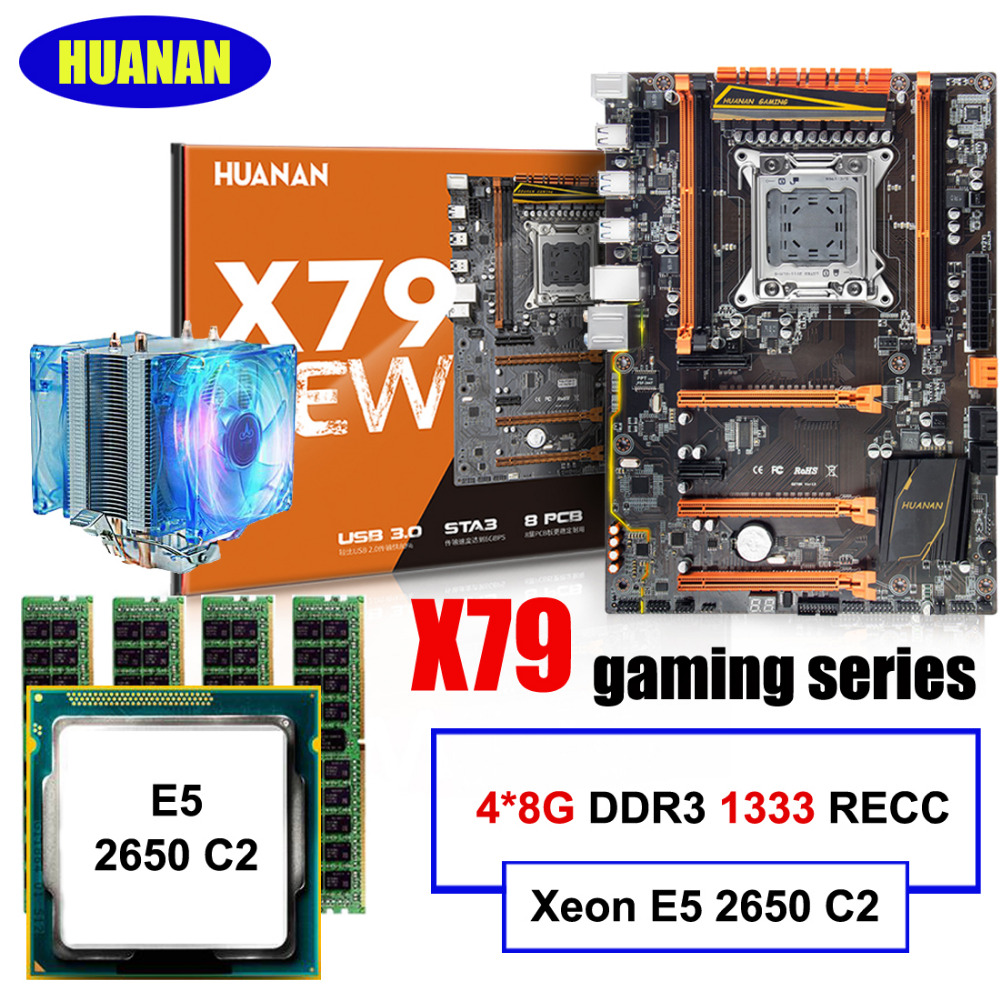 Brand HUANAN deluxe X79 motherboard LGA2011 Xeon E5 2650 C2 with cooler RAM 32G(4*8G) RECC computer assembly components build PC