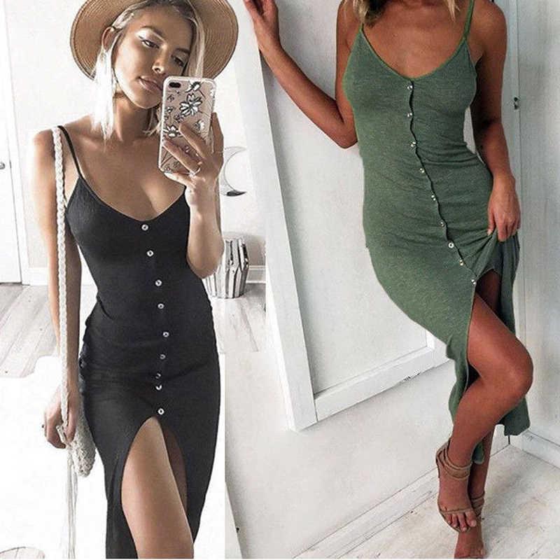 2018 neu Sommer Sexy Mode Kleid Frauen Damen Sleeveless V-ausschnitt Dünne Feste Taste Hohe Taille Ankle-Länge Kleid