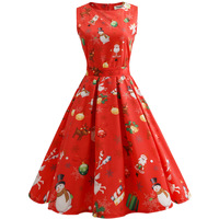 Autumn Dress Women Sleeveless High Waist Sexy Dress Sashes Waist Retro Christmas Print Vintage Dress Women