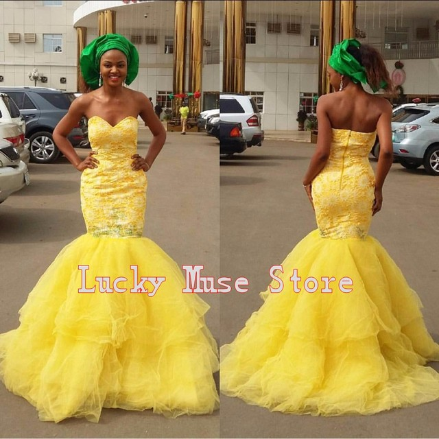 33360220e16 Vestido De Festa Sexy African Lace Appliques Women Evening Party Gowns Nigerian  Style Open Back Long Mermaid Yellow Prom Dresses