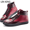 LIN KING High Quality Casual Men Shoes Autumn  Gold Glitter Patchwork Flats Shoes High Top PU Leather Waterproof Male Shoes