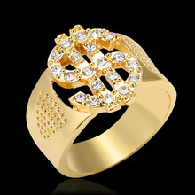 Classic Hip Hop Rock US Dollar Sign Hollow Rings for men Jewelry gift(China)