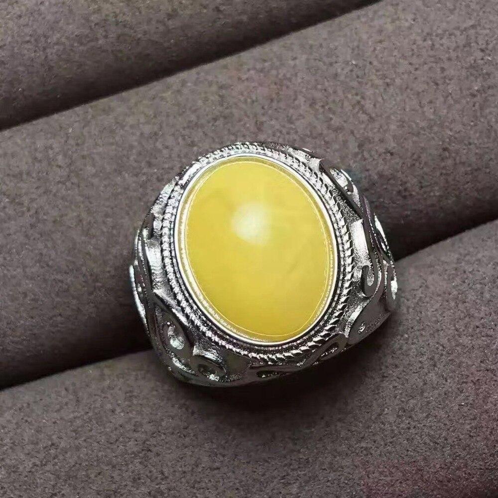 Bague homme ambre naturelle et réelle en argent sterling 925 en gros bijoux fins bague homme ambre naturel 12*16mm
