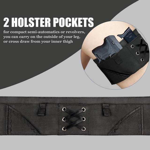 Vapanda Holster Black Thigh Holsters Woman Sexy Tactical Gun Garter Holster  for Taurus PT-22  22 Caliber Tcp  380 Revolver Bag