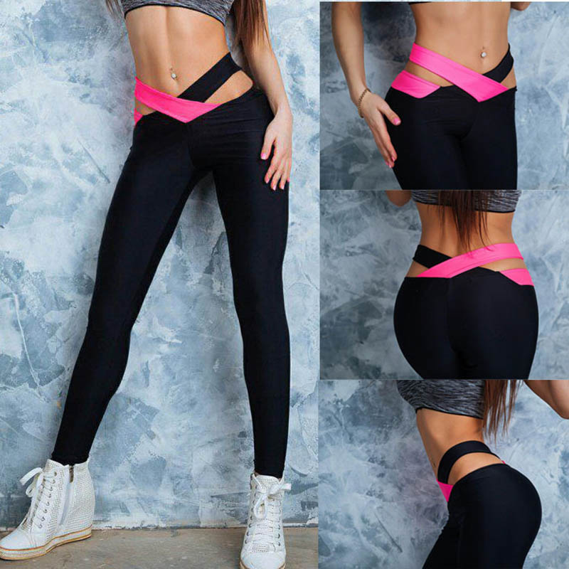 High Street Spring Yoga Women Fitness Leggings Cross Waist Workout Pencil Pants Leggins Elastic Cut Out Trousers Sportwear