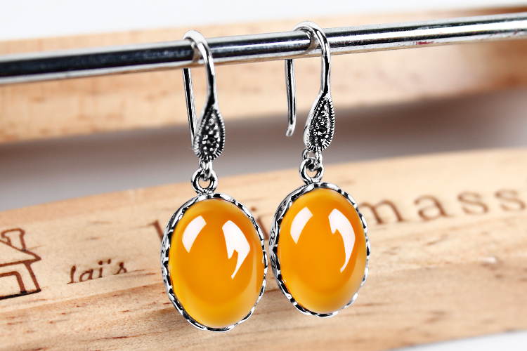 цена S925 silver silver retro green chalcedony Agate Earrings Earrings yellow agate gem Earrings Silver female temperament