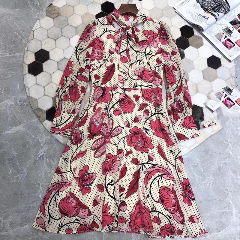 Qualité Élégant Soie Lignes Nouvelle Pour Robe Imprimer Longues D'été 2019 À Manches Femmes Mode Supérieure XXxTvnwZ