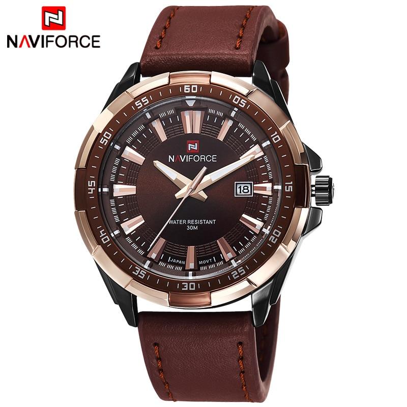 TOP Luxury Brand Fashion Mens Watches NAVIFORCE Militray Sport Quartz Men Watch Leather Waterproof Male Wristwatches Man Clock