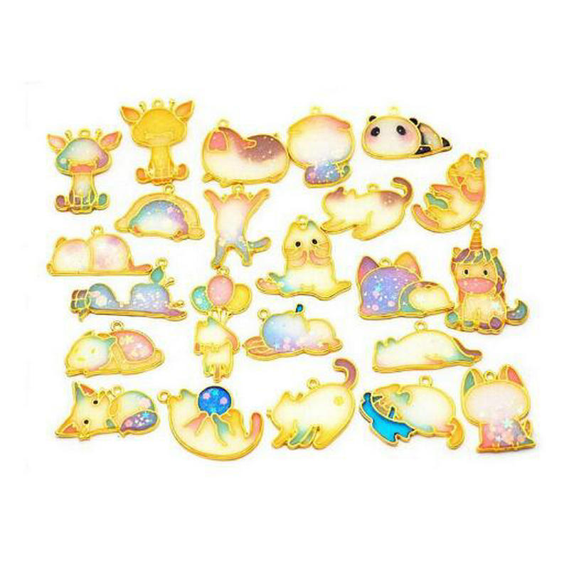 5pcs Kawaii Playing Cat Metal Frame Jewelry Pendant Accessories DIY Laugh Cry Animal Open Bezels Epoxy Resin Handmade Charms Art