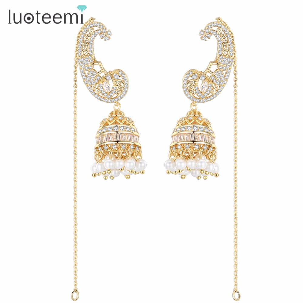 LUOTEEMI Drop Earring With CZ Gorgeous Bright Crystal Imitation Pearls Long Chain Brincos Bijoux For Women Party Wedding Jewelry free shipping imitation pearls chain flatback resin material half pearls chain many styles to choose one roll per lot