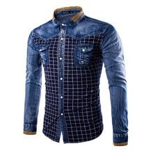 Denim Men Shirt New Arrival shirt Casual Long Sleeve Shirt Hit color Grid Design Jeans Shirt chemise homme B1173