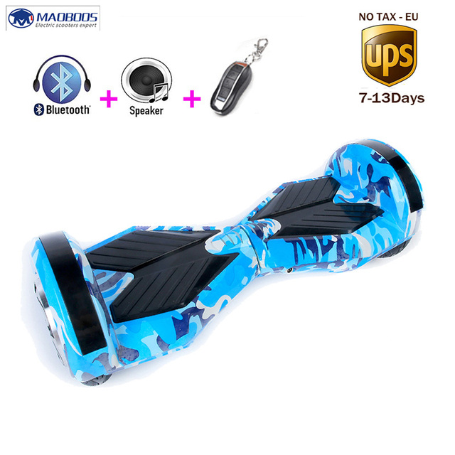 Self Balancing Skateboard Hoverboard Two Wheels Smart Electric Scooter With Bluetooth Speaker LED Light Kick Electric Skateboard