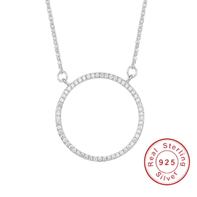 Handmade Round Hollow Necklace for Women Fashion 5A Zircon Cz 925 Sterling silver Engagement wedding Pendant with NecklaceHandmade Round Hollow Necklace for Women Fashion 5A Zircon Cz 925 Sterling silver Engagement wedding Pendant with Necklace