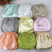 Bragas de satén de seda para mujer, ropa interior con bordado Floral, paquete de 3psc, bragas