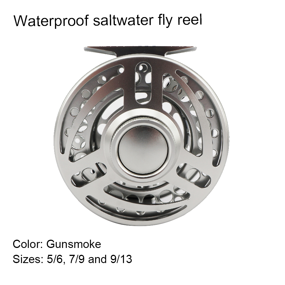 Aventik Quality Rough Fish Series USA Waterproof Saltwater Fly Fishing Reel Silver Color Left Handle Fly Reel New
