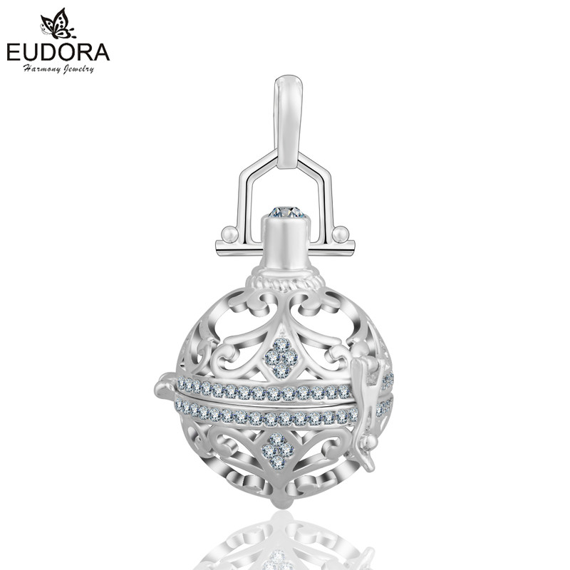 Fashion Copper 18mm Eudora Harmony Ball Crystal Locket Cage Pendant For Pregnant 2016 Women Floating Necklaces Pendants Jewelry