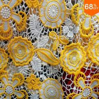 2017 Luxury Guipure Yellow and white flowers leaf wedding wholesale flower golden with embroidery yarn colors 135cm wide fabric