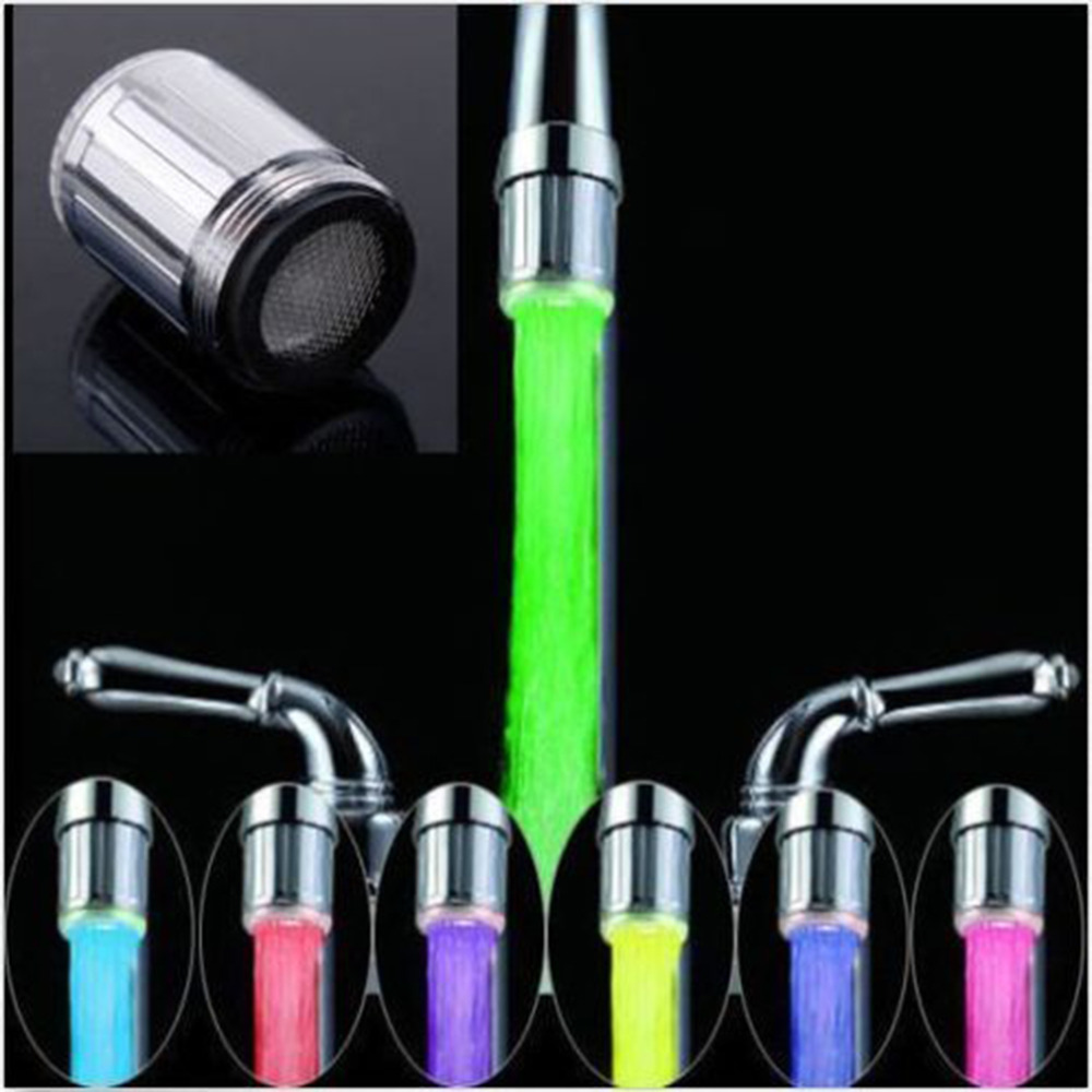 7 Colors Changing LED Water Faucet ABS Silver Light Glow Tap Head Kitchen Pressure Sensor Bathroom Taps Accessory New In 2019