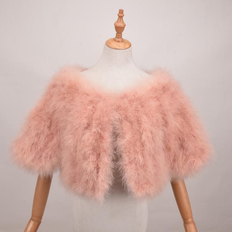 Real Turkey Fur Shawls for women Handmade Genuine Fur fashion Ostrich Feather Women Fur Shawl Scarf Winter