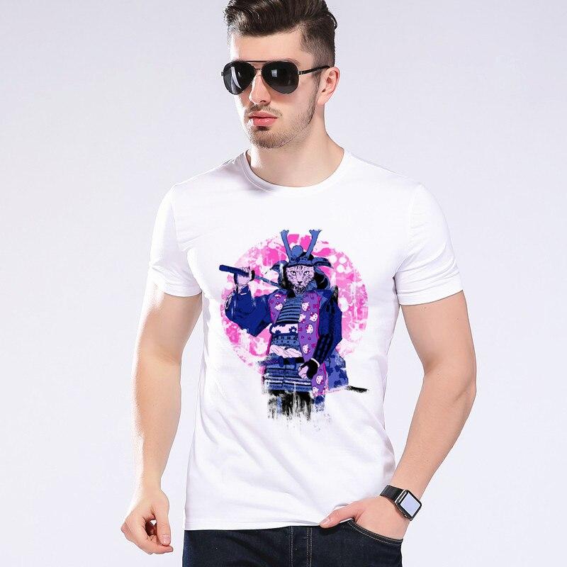 Hommes/Femmes Chat Japonais Guerrier T-shirt D'été Creative 3D Drôle de Bande Dessinée Animaux T-shirts Animation Ninja T-shirt Moe Cerf 2D-13 #