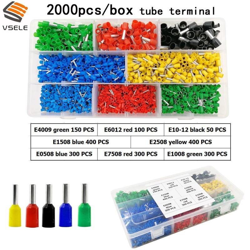 цена на VSELE tube insulating crimp terminals insulating ring terminals plug tab 2.8 4.8 6.3 terminator connector block 7 kinds box set