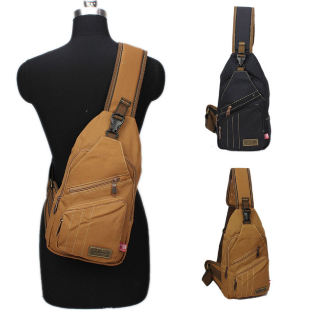 Men Canvas Sling Chest Bag Vintage High Capacity Cross Body Messenger Shoulder Back Pack Travel Riding Hiking Packet Pouch