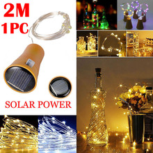 1PC 2M Solar Cork Wine Bottle Stopper Copper Wire String Lights Fairy Lamps Outdoor Party Wedding Decoration Home decor