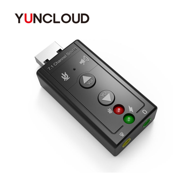 YUNCLOUD Sound Card External USB 2.0 7.1 Channel 3D Audio Mini Adapter 3.5mm Earphone MIC Interface for PC USB Audio Card high quality brand new channel 3d 7 1 usb external sound card sound box support digital audio streaming vista with driver cd