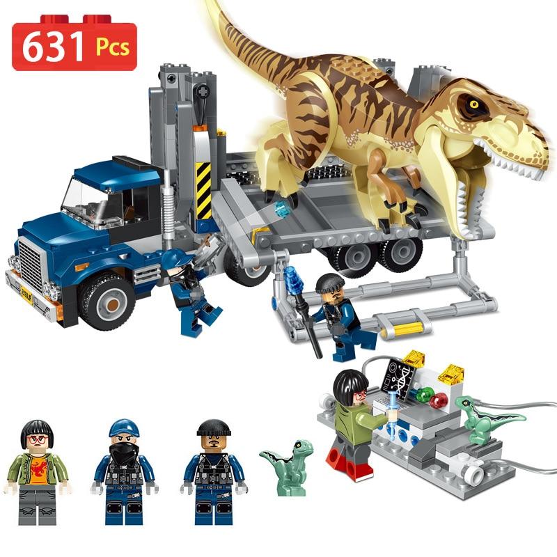 631Pcs Jurassic World T. Rex Transport Truck LegoINGLYS Dinosaur Tyrannosaurus Rex Model Building Blocks Toys Bricks tyrannosaurus rex tyrannosaurus rex my people were fair