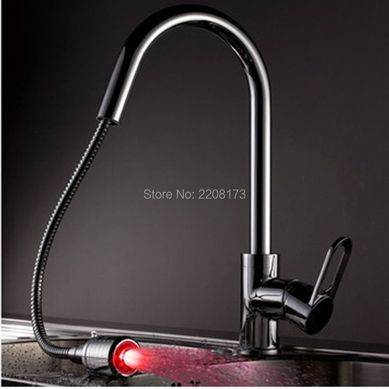 Wholesale Modern Type Solid Brass Pull Out Spout Kitchen Basin Sink Faucet LED Mixer Tap Single