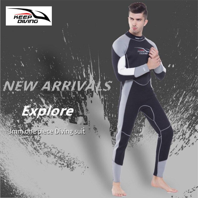 3MM Neoprene One-Piece Full body Scuba Dive Wetsuits For Winter Swim Keep warm Surfing Snorkeling Spearfishing Equipment