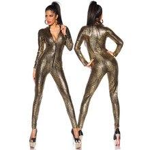 Sexy Snake Print Lingerie Latex PVC Jumpsuit Zentai Costume Women Black Catsuit Pole Dance suit Lady Nightclub erotic Bodysuit