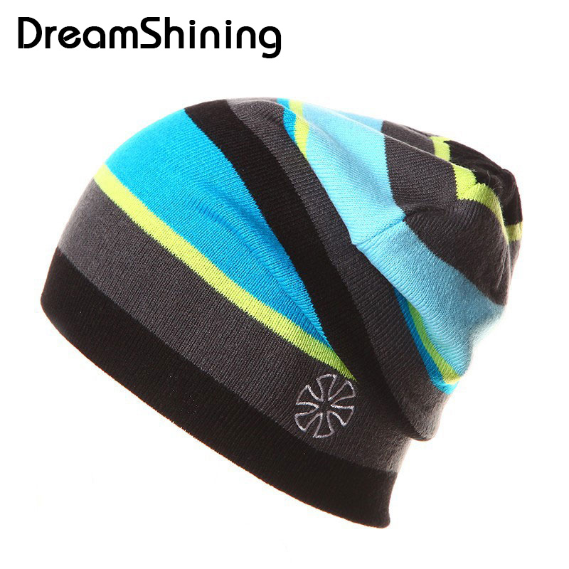 DreamShining Winter Thick Keep Warm Caps Ski Fleece Wind Proof  Knitting Hat Unisex Casual Beanies For Women Men Couples