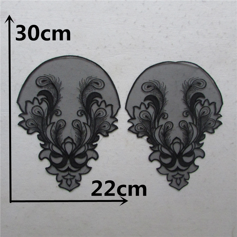 A pair sale front and back fashion Lace Collar Style Beautiful Flower Lace Applique Trim, Lace Fabric Sewing Supplies YL877