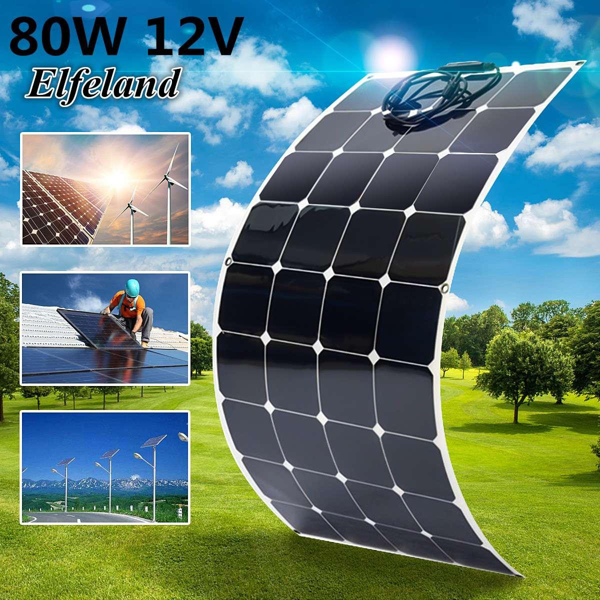 KINCO 80W 12V Semi Flexible Monocrystalline Sun Power Chip Solar Panel High Conversion Efficiency For RV Boat Car + 1.5m Cable