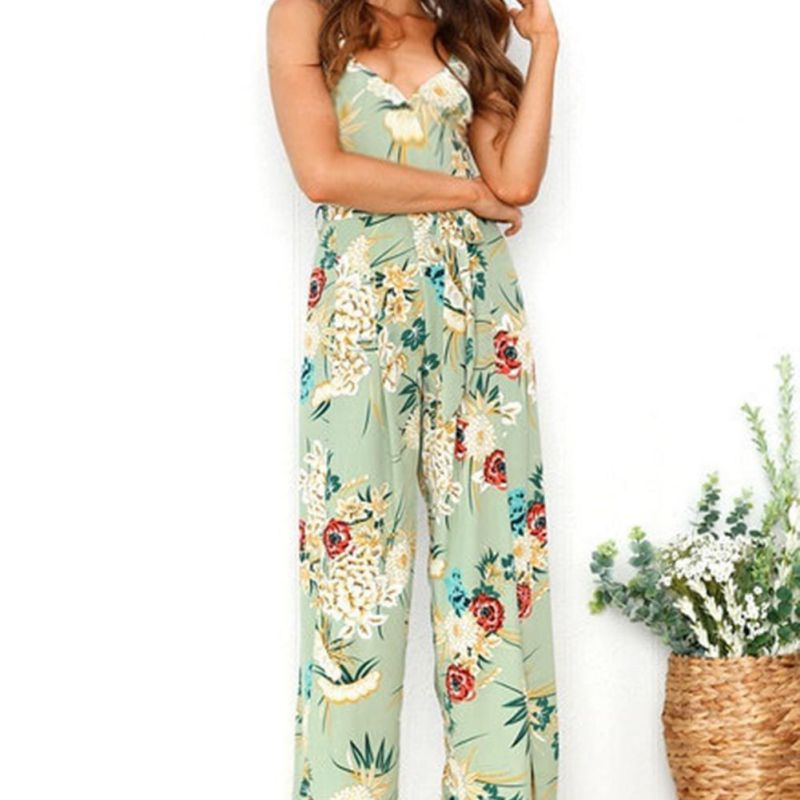 2018 Summer Floral Printed Women Jumpsuits Strap Backless Beach Full Length Overalls Sexy V-Neck High Split Sashes Rompers