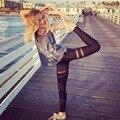 Лоскутное Марли Спортивные Yoga Брюки Сексуальный Перспектива Legins Спорта Фитнес Твердые Бег Бег Колготки Женщины HWU0072-5