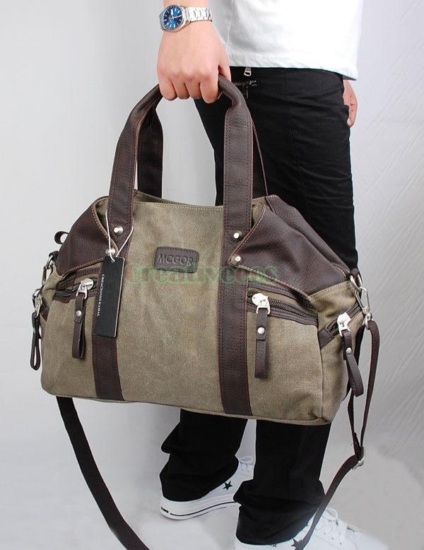 ФОТО High Quality Men's Canvas Travel Large Handbag Messenger Shoulder Cross Body Tote Casual Bag Handbags