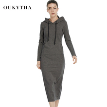 Oukytha New 2017 Autumn and Spring Women Floor-Length Dress Casual Hips Long Style Hooded Dress Lady Thickening Dress M15322(China)