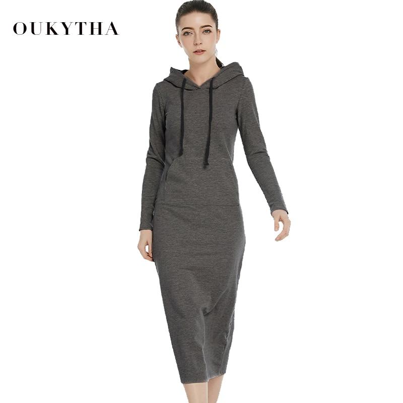 Nouveau Femmes-Parole Longueur Robe 2018 printemps vintage Casual Hanches Style Long À Capuche Robe Dame Épaississement Robes M15322