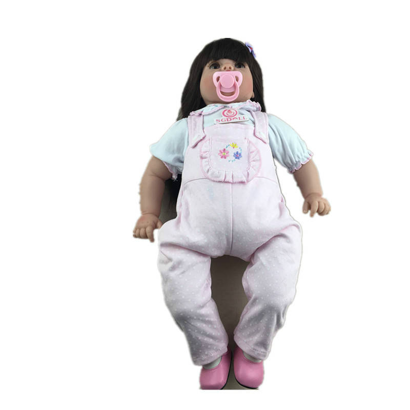 55cm/22'' Reborn Toddler Dolls Handmade Lifelike Baby Solid Silicone Vinyl Fat Girl Early Education цена и фото