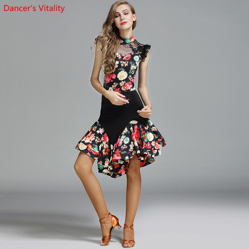 Female Adult Latin Dance Suit Spandex Printing Costumes Women Ballroom/Tango/Rumba/Latin Dresses Clothings For Dancer