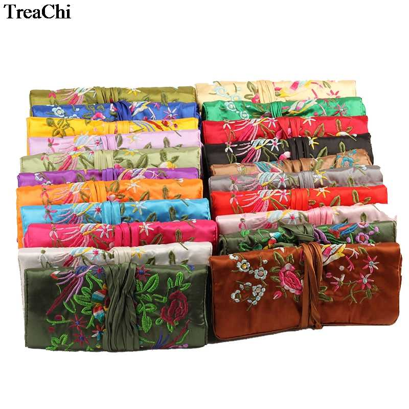 Fashion Chinese Wind Silk Jewelry Organizer Travel Pouches With Ring Bar 3 Zipper Embroidery Flower Bird Hand Roll Bag