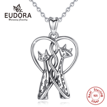 EUDORA Sterling Silver Cat Necklace kitten two headed conjoined 925 silver Lover charm jewelry Forever Love Pet Pendant D414