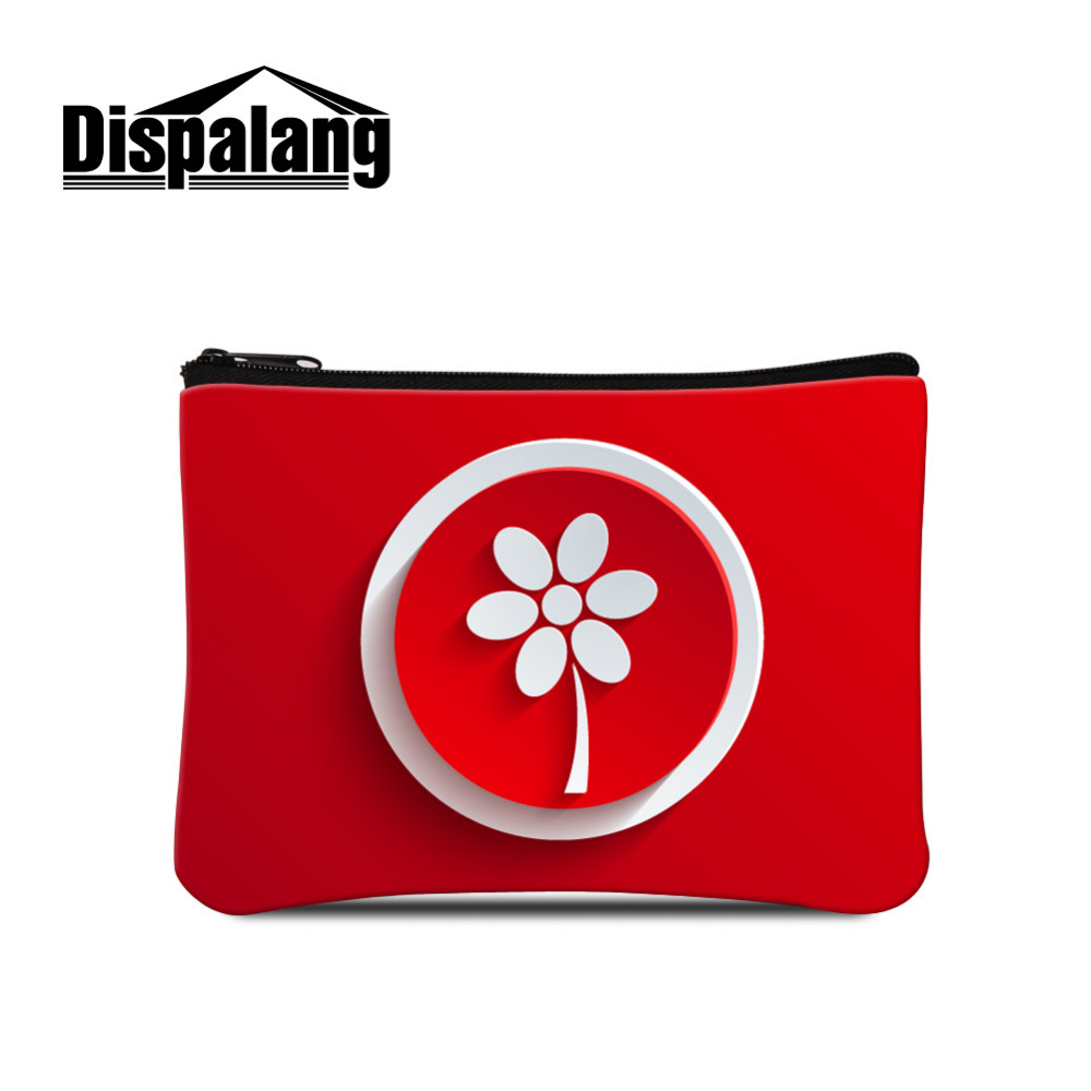 Dispalang Coin Purse Icon Prin Ladies Clutch Change Purse Red Women Flower Zero Wallet Girls Zipper Coins Bag Kids Wallet Pouch