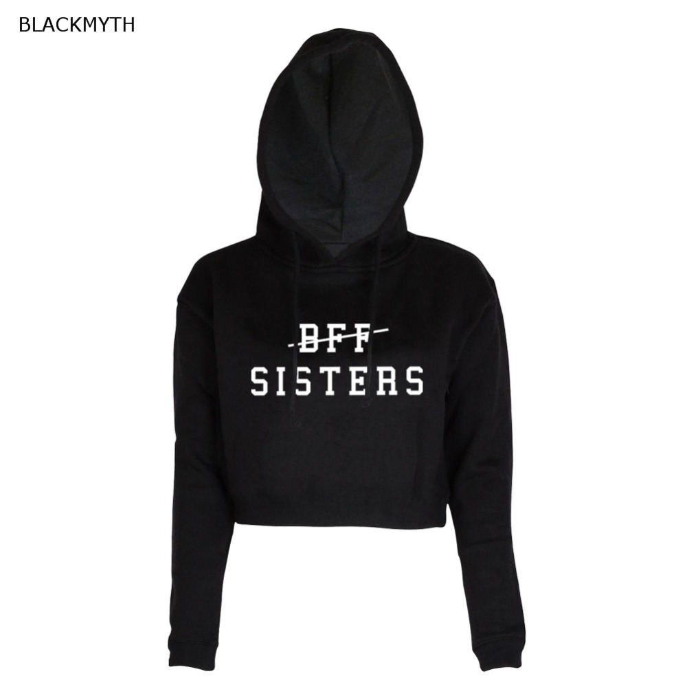 BLACKMYTH BFF SISTERS Print Hooded Fashion Casual Short Pullover Women's Long Sleeve Black White O-neck  Crop Tops Sweatshirt