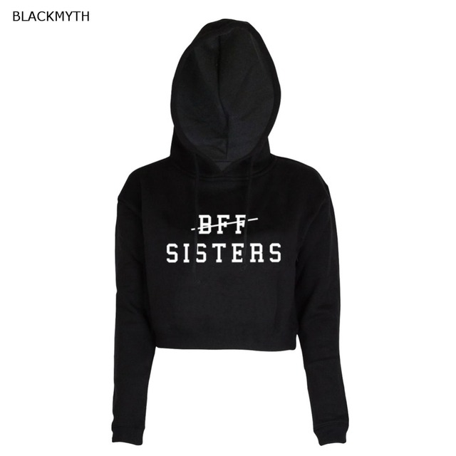 77ccc7611061 BLACKMYTH BFF SISTERS Print Hooded Fashion Casual Short Pullover Women's  Long Sleeve Black White O-neck Crop Tops Sweatshirt