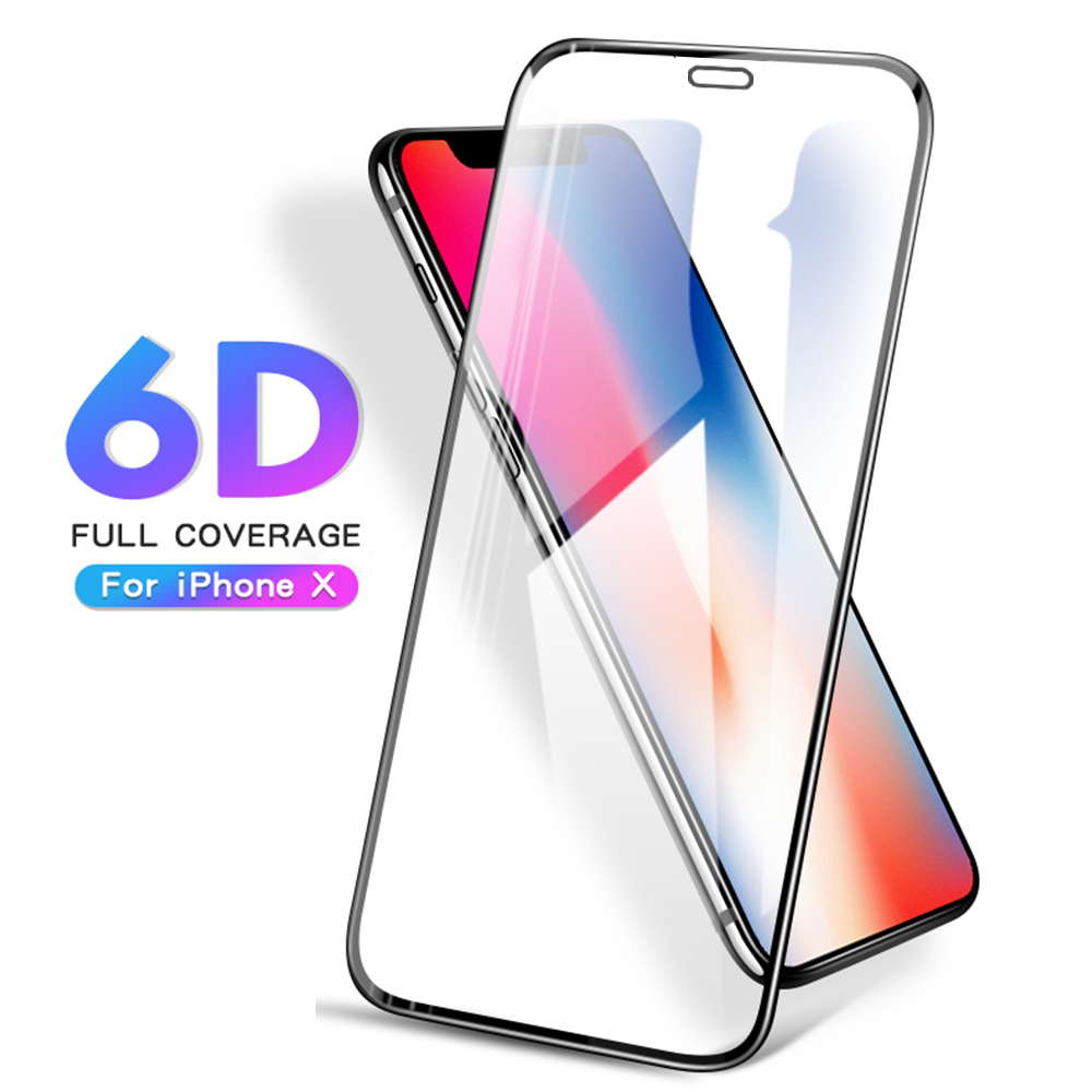 6D Curved Glass For iPhone 8 7 6 6S X 10 2017 Case Full Cover Tempered Glass Screen Prot ...
