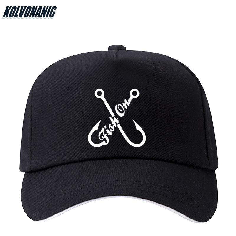 2019 Summer Fish ON Hook Funny Print Baseball Caps for Men Women Unisex Adjustable Fishing Hip-Hop Leisure Cotton Hats